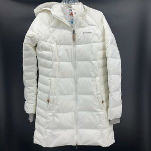 Columbia Womens Down Puffer Jacket White Hooded XL